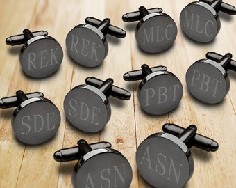 Groomsmen Gifts - Personalized Round Gunmetal Cufflink Set of 5 - Engraved Cufflink - Gifts for Him - Personalized Cufflinks - GC1331X5