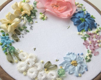 Floral embroidered art. Silk ribbon embroidery. Wall art. Wall decor. Hoop art. Gift for her. Mothers day. Patel colours. Vintage lace.