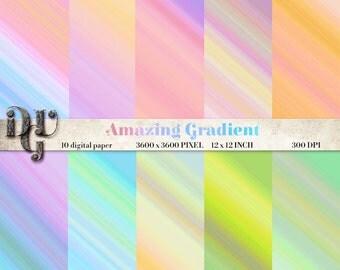 GRADIENT Digital Paper - Gradient Digital Scrapbook Paper - Ombre background scrapbooking, printables paper - Digital Background Des. 126