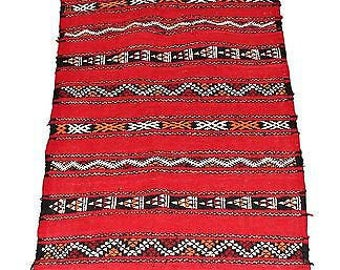 Authentic Moroccan Handmade Handwoven Kilim 100% Wool Rug - Red Black & Orange - 1.00 x 0.59 m