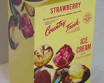 Seeger's 1/2 Gallon Country Fresh Strawberry Ice Cream Vintage Carton Merrill, Wisconsin