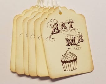 Eat Me Tags, Alice in Wonderland, Mad Hatter, Tea Party, Bridal Shower, Baby Shower, Birthday, Wonderland, Set of 6 or 12, Size 2x3 inches