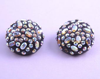 1950's Clip On Earrings With Rainbow Crystal Beads (870q181)