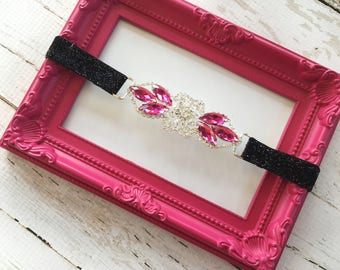 Flapper Dress Headband - Forehead Flapper Headband - Pink Art Deco Flapper Headpiece - Black Glitter Headband for Women - Bridesmaid Flapper