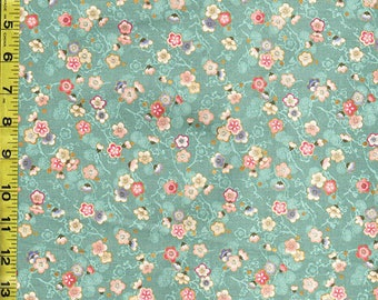 Quilt Gate - Japanese Asian Sewing Quilting Fabric - Celebration - Tiny Floating Plum Blossoms - Teal