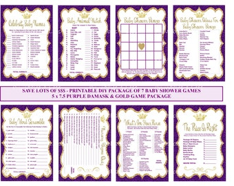 Purple Gold Prince Baby Shower Game, Purple Gold Baby, Printable Princess, Crown Baby Game, Purple Gold Glitter Shower - Printables 4 Less