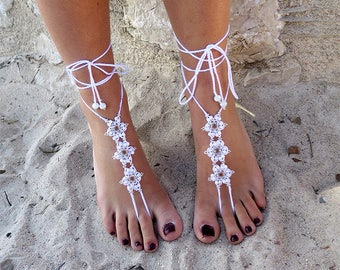 Barefoot sandals lace crochet.Jewelery crochet for beach holiday.Boho style jewelry.Anklets white crochet.White lace crochet jewelry.
