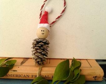Tiny Pinecone Santa Man Christmas Ornament + gift + mini + wooden + handmade + rustic + Texas + Nashville