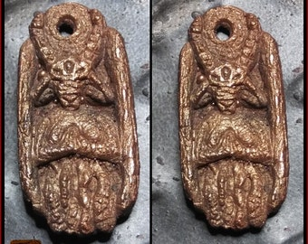 "1 1/2"" Metallic Bronze Goat Pendant - Strange Artifact - Hand Carved Cast in Resin"
