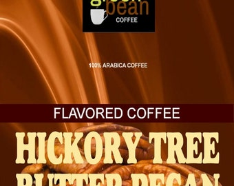 Hickory Tree Butter Pecan Flavored Coffee. The flavor of roasted pecans sweetened with the essence of golden honey and creamy butter.