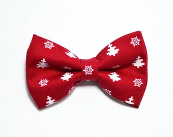 Christmas Bow tie Red with White Polka Dot Bow Tie For Boy/Baby/Teen/Adult/With Adjustable strap/Clipon