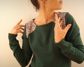 Pine Green and liberty organic sweatshirt with flowers at the shoulders