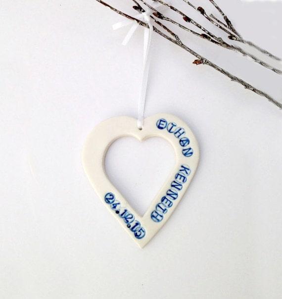 Baby Boy Gift Keepsake : New baby boy gift personalised heart keepsake