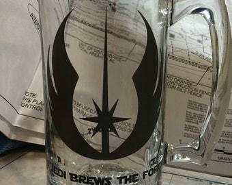 Star Wars beer stein, funny Jedi beer mug, glass mug, 24 ounces