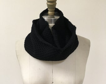 Black Waffle Pattern Knitted Infinity Scarf
