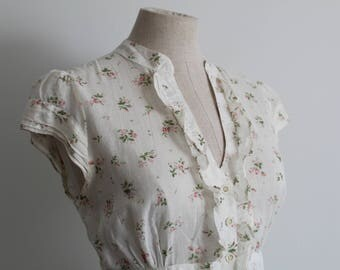 1940s Style Floral Print Land Girl Blouse Top