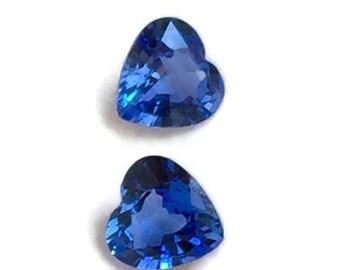 Heart Shape Blue Sapphire Loose Stones, A Pair Of 2 Matching Heart Blue Sapphire Stones, Heart Shape Ceylon Sapphires