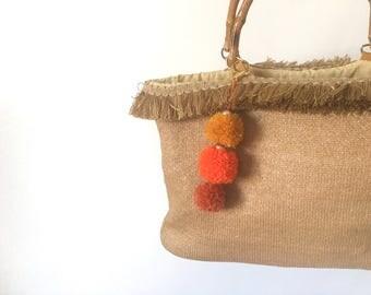 Upcycle Bag, Pompom Bag, Fringe Bag, Wicker Handle, Natural Fibers, Straw Bag, Boho Bag, Boho Style, Market Bag