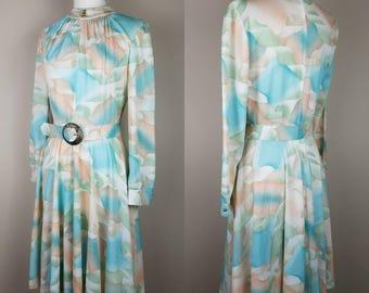 1980s pastel vintage Sears belted dress 16