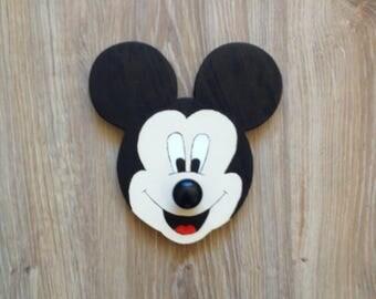 Mickey Mouse hook, Wooden Hooks, Wall Decor, Coat rack, Wall coat rack, Wall hook, Coat Hangers, Animal Nursery Decor, Coat Hooks