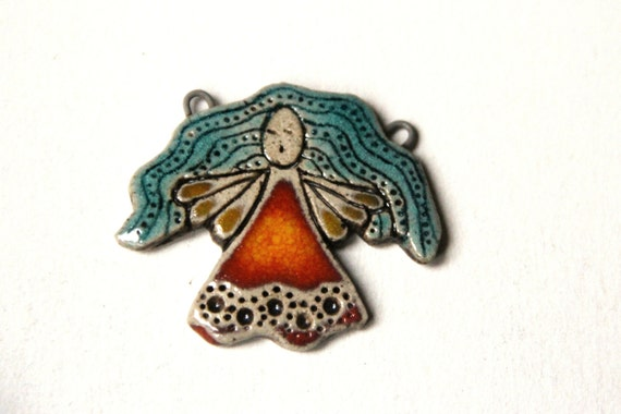 OOAK ANGEL PENDANT:  Rustic Stoneware Ceramic Pendant - handmade components for jewelry making