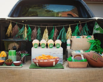 Tailgate Football Party Printable Set Turf Green and Football Brown