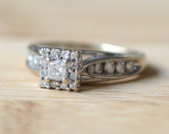 14K White Gold 0.85 CTW Diamond Engagement Ring - Vintage Engagement Ring - Vintage Diamond Engagement Ring - Antique Diamond Ring