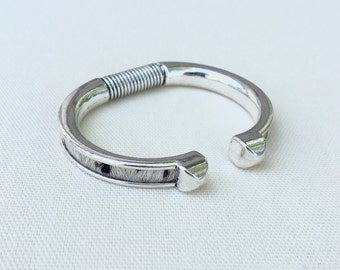 Cowhide Bangle in Silver