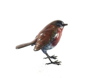 Limited Edition Hot Cast Solid Bronze Multi Patina Standing Robin