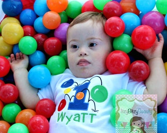 Boys Bouncy Ball Pit Birthday Shirt First Second Third Colorful Custom Embroidered ANY AGE