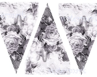 Old English Roses chintz bunting in a pale hint of pink 3 butning flags per A4 sheet download jpg cut out just 49p