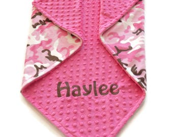 Personalized Minky Baby Blanket - Pink Camouflage Blanket - Baby Girl Blanket - Double Minky Blanket - Camo Baby Blanket