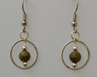 Unakite and Sterling earrings
