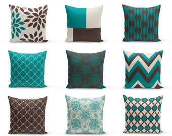 Teal Brown Pillows, Pillow Covers, Teal Chocolate Beige, Home Decor, Decorative  Pillow