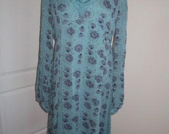 SALE! Vintage Noa Noa Teal Blue Floral Hippie Boho Dress XL