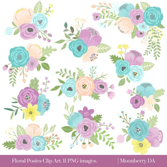 Clipart Flowers Wedding Invitation Clipart Flowers: Flower Clipart FLORAL POSIES CLIPART Wedding