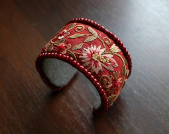 Beaded bracelet, hand beaded women cuff, women bracelet, recycled embroidery textile bangle, red and olive wide embroidered floral cuff