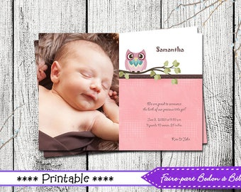 Owl birth announdement - Personalized Photo Birth Announcement - Pink-Owl - Digital printable file