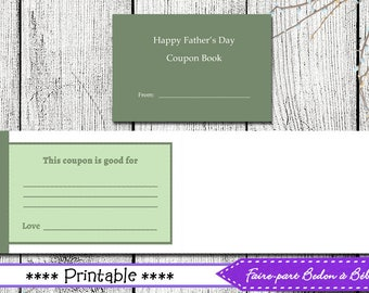 Coupon Booklet Fathers Day - Father's day gift - Digital printable - Pdf printable - booklet - coupons - Father's day