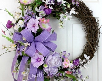 Summer Lavender Grapevine Wreath, Summer Grapevine Wreath, Grapevine Wreath, Every Day Grapevine Wreath, Everyday Wreath, Wedding Wreath