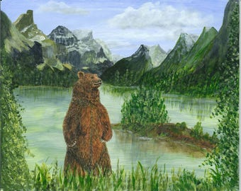 Grizzly Bear, Original Painting