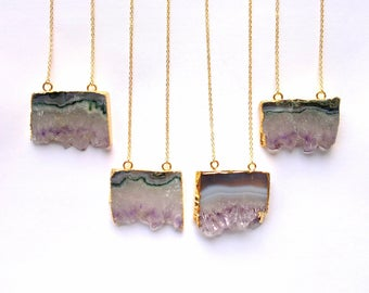 Gold Edged Amethyst Slice Necklace Rough Raw Crystal Pendant Amethyst Rough Raw Purple Stone Crystal Cluster Amethyst Jewelry Boho Pendant