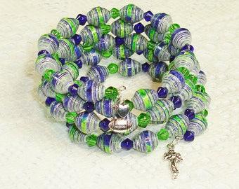 Paper Bead Bracelet, Handmade Memory Wire Jewelry Seattle Seahawks Crochet