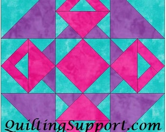 Double Baskets 10 Inch Block Paper Piecing Foundation Quilting Block Pattern PDF