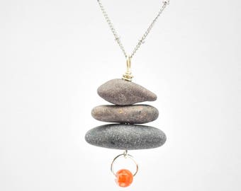Stone Beach Pebble Pendant - Cairn Necklace - Stone Jewelry