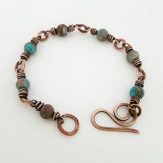 beaded jasper bracelet wire copper braceletearthy jewelry
