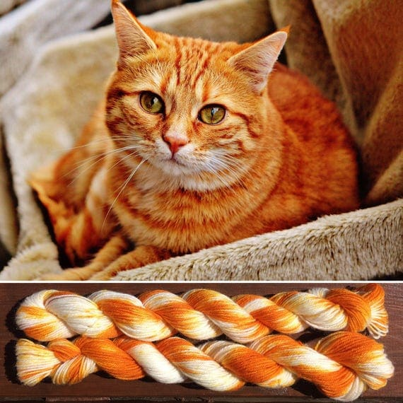 Ginger Tabby Miniskein 20g, cat inspired 4ply fingering superwash merino nylon blend indie sock yarn