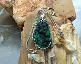 Deep green gemstone Anyolite pendant Ruby in Zoisite silver wire wrapped free form necklace