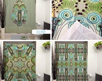 Belle Epoque Pattern Shower Curtains. Art Deco, Bathroom Decor, Curtain, Green Decor, Pattern, Pastels, Whimsical, Steampunk, Swirls