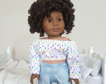 18 inch doll peasant blouse | multi color print crop top